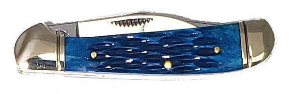 Bulldog Brand Dark Blue Jigged Genuine Bone Locking Copperhead BDG-104DBJB
