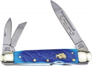Bulldog Brand Dark Blue Jigged Genuine Bone Lockback Whittler BDG-116DBJB