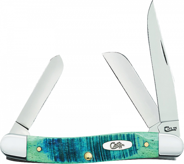 WR Case and Sons Cutlery Company Caribbean Blue Sawcut Jigged Medium Stockman 25597