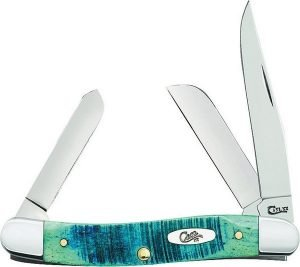 WR Case and Sons Cutlery Company Caribbean Blue Sawcut Fade Bone Medium Stockman 25597