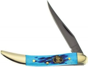 Steel Warrior Blue Jigged Carbide Coated Genuine Bone Little Texas Toothpick SW-109TCBL