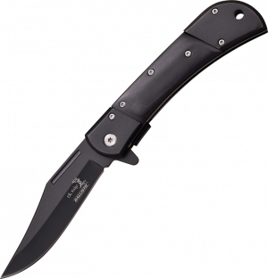 Elk Ridge All Black Pakkawood Folding Hunter Lockback with Black Bolsters ER-A009BK