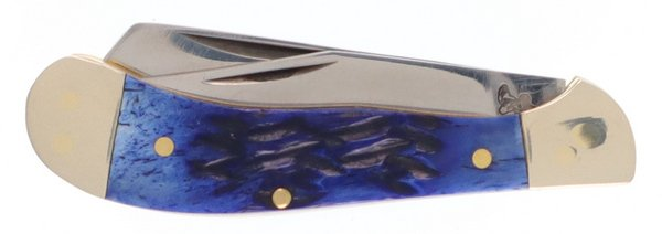 Frost Cutlery Blue Picked Genuine Bone Baby Saddlehorn Trapper 14-972BLPB