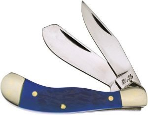 Frost Cutlery Smooth Blue Genuine Bone Baby Saddlehorn Trapper 14-972BLSB