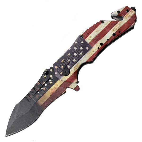MTech USA American Flag Spring Assisted Linerlock Tactical Folder MT-A845F