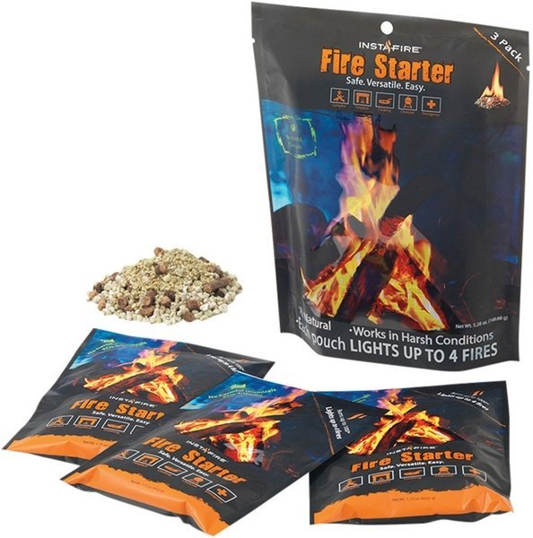 Insta-Fire All Natural Fire Starter - 3 Pack - Remains Lit In Any Weather Condition - Made In USA INS02