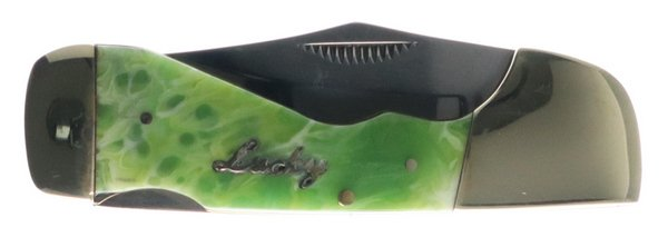 Steel Warrior Uncle Lucky Collection Green Swirl Resin Choctaw Lockback ULSW-105G