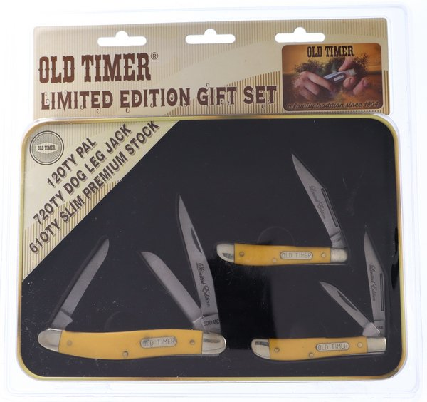 Schrade Old Timer Yellow Smooth Synthetic Limited Edition Gift Set P1105604Y
