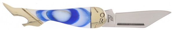 Ocoee River Genuine Mother of Pearl with Blue Rings Lady Leg Knife OC-183BW