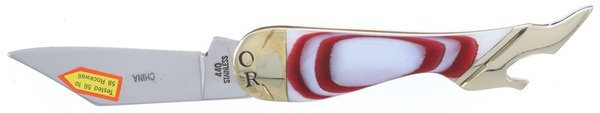 Ocoee River Genuine Mother of Pearl with Red Rings Lady Leg Knife OC-183RW
