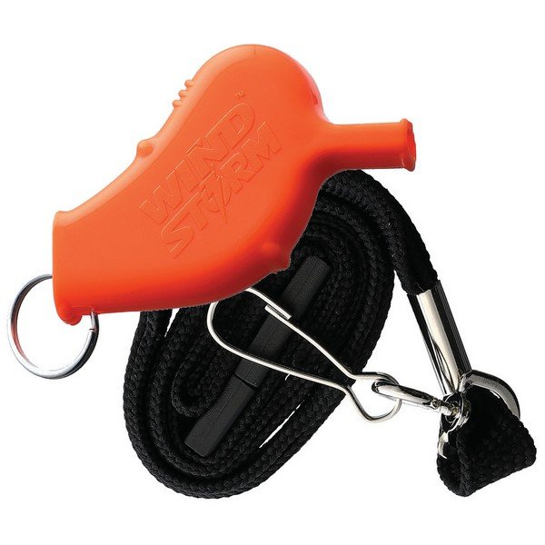 WindStorm All-Weather Orange Safety and Storm Whistle with Lanyard AW6